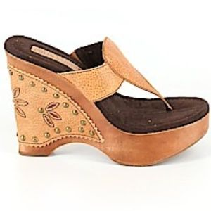 Colin Stuart Brown Leather Wood Wedge Sandals 8.5